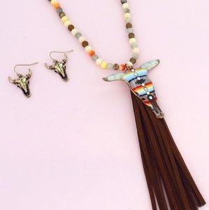 Jewelry - Steer Head beaded Fringe Necklace Earring set boho